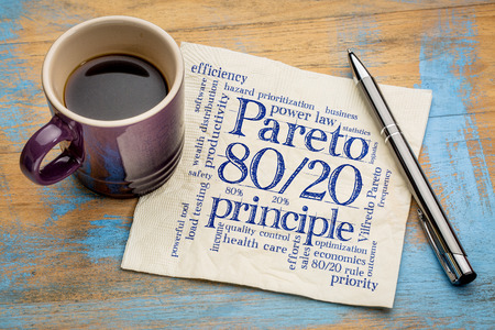 eighty: Pareto principle or eighty-twenty rule - word cloud on a napkin with a cup of coffee