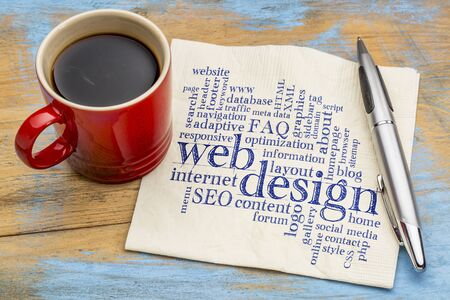 web or website design concept - a word cloud on a  napkin with a cup of coffee Stock Photo