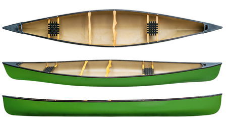 seater: green tandem canoe with wood seats isolated on white - top and side views