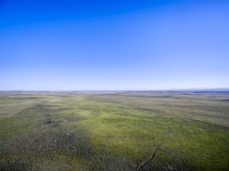 pawnee grassland: Pawnee National Grassland near Grover, Colorado - early summer aerial view Stock Photo