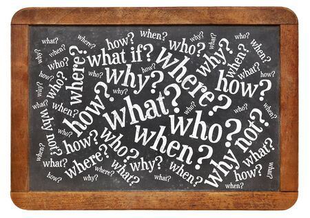 what if: who, what, when, where, why, how questions - brainstorming concept  on a vintage slate blackboard isolated on white