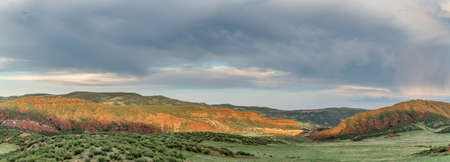 foothills: foothills of Rocky Mountains in Colorado - Red Mountain Open Space near Fort Collins - early summer panorama