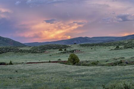 red mountain open space: dusk over Colorado foothills  - Red Mountain Open Space near Fort Collins - early summer scenery