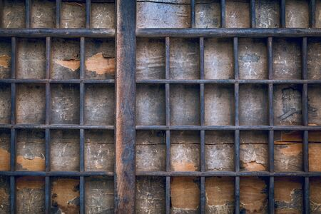 typesetter: background of vintage grunge wood typesetter drawer with dividers Stock Photo