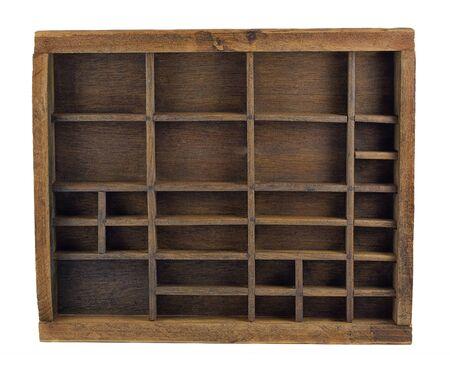 typesetter: vintage wooden typesetter case (drawer) or shadow box isolated on white