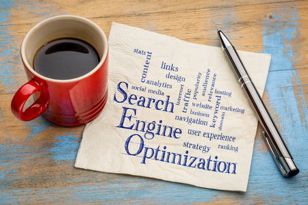 word cloud: search engine optimization word cloud - handwriting on a napkin with a cup of espresso coffee