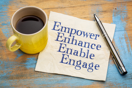 motivational leadership, coaching or business concept - empower, enhance, enable and engage  words on a napkin with a cup of coffee Stock Photo