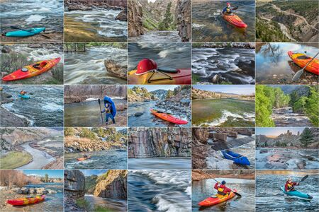 paddler: whitewater kayak and packraft  picture collection - paddling on mountain rivers in Colorado featuring the same male paddler