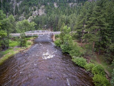 poudre river: Cache la Poudre River and Pingree Park Road bridge - aerial view in early summer