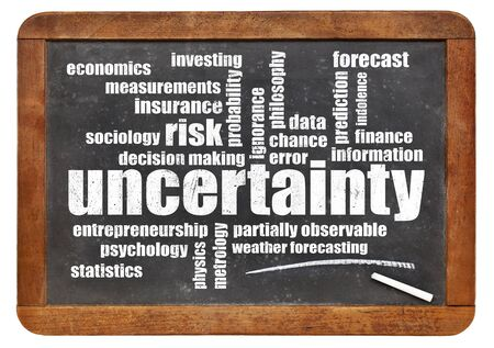 uncertainty: uncertainty and risk word cloud - white chalk text on a vintage blackboard