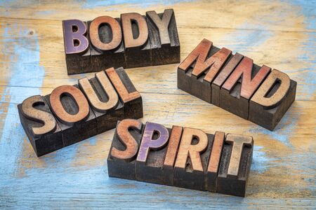 body, mind, soul and spirit word abstract -text in vintage grunge wood letterpress printing blocks against grunge wood 스톡 콘텐츠