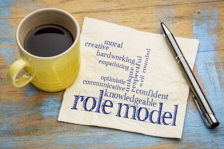 communicative: role model qualities word cloud -handwriting on a napkin with a cup of coffee