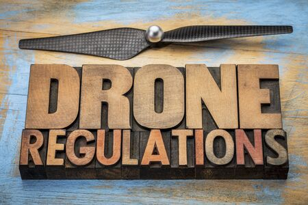 Drone regulations banner in wood type