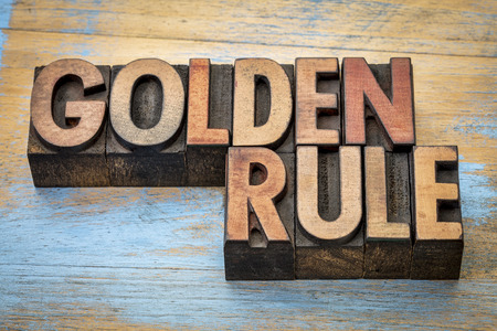 rules: golden rule word abstract - text in vintage letterpress wood type printing blocks