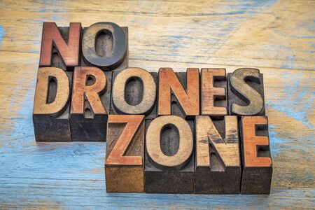No drones zone sign or banner - word abstract in vintage letterpress wood type blocks