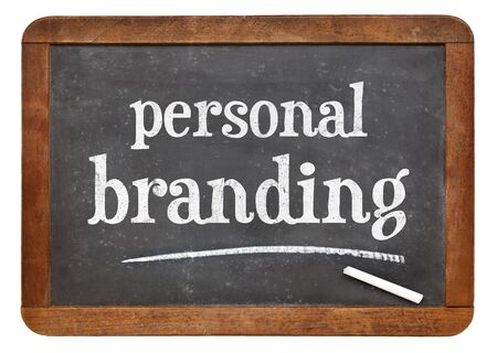 personal branding  - white chalk text on a vintage slate blackboard