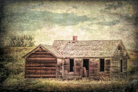 gritty: old abandoned farmhouse on a prairie, St Vrain State Park near Longmont, Colorado,, grunge and gritty texture picture finish