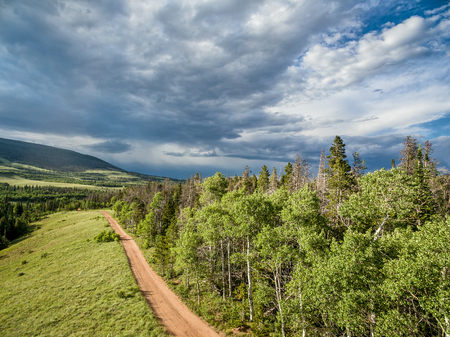backcountry: aerial view  of a backcountry road in Rocky Mountains - Sand Creek Road in northern Colorado