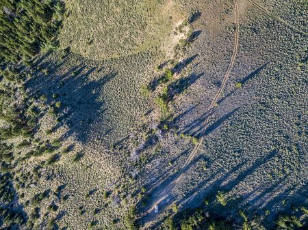 back country: Aerial view of a back country road in North Park, Colorado Stock Photo