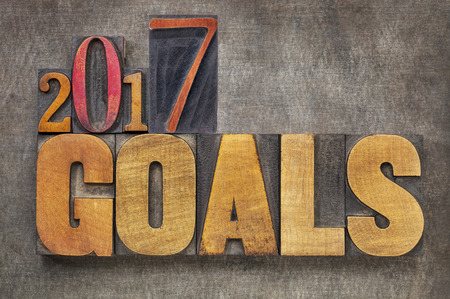 goal setting: 2017 goals - New Year resolution concept - word abstract in vintage letterpress wood type blocks against grunge metal background