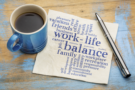 work life balance: work life balance word cloud - handwriting on a napkin with a cup of coffee