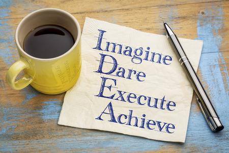 dare: idea acronym (imagine, dare,execute, achieve) - handwriting on a napkin with a cup of espresso coffee Stock Photo