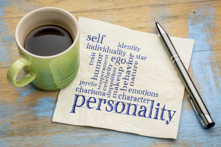 psyche: personality and character word cloud - handwriting on a napkin with a cup of coffee