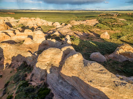 natural landmark: Sandstone formation at Sand Creek National Natural Landmark, Albany County, Wyoming -aerial view