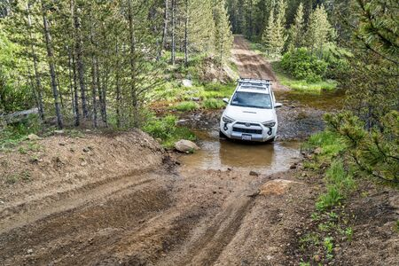 backcountry: RED FEATHER LAKES, CO, USA - JUNE 3, 2016: Toyota 4Runner SUV (2016 Trail edition) crossing a mountain stream (Sand Creek Road) in Colorados Rocky Mountains Editorial