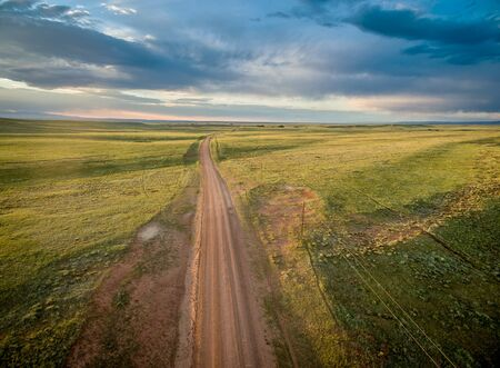 backcountry: ranch road over prairie in southern Wyoming near Colorado border - aerial view