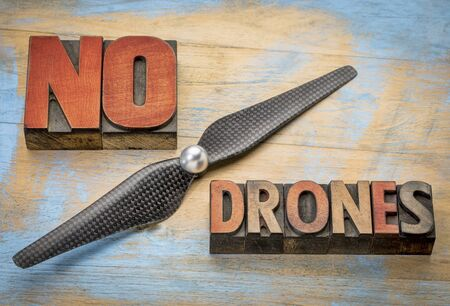 letterpress blocks: No drones sign or banner - word abstract in vintage letterpress wood type blocks with a drone propeller