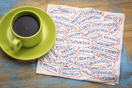 philosophy of logic: thinking and related topics - word cloud - handwriting  on a napkin with a cup of coffee Stock Photo