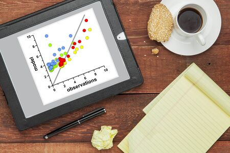 scatter graph of model and observation data on a digital tablet - science or business research and analysis concept