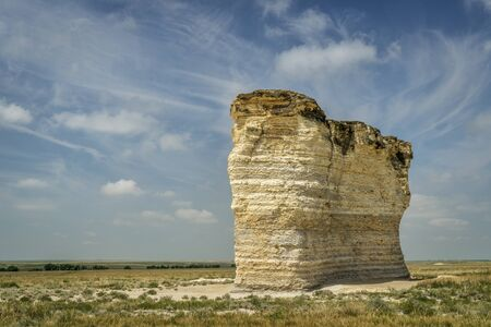 natural landmark: chalk formations at Monument Rocks National Natural Landmark in Gove County, western Kansas