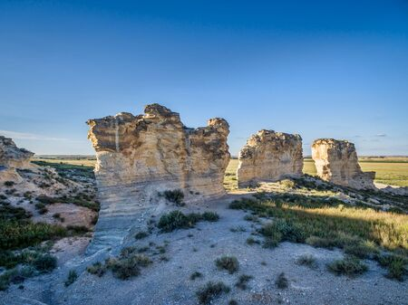 limestone pillar formation near Castle Rock in a prairie of western Kansas near Quinter (Gove County) - aerial view