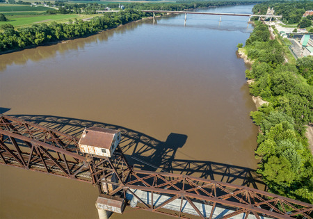lifted: Historic railroad Katy Bridge  over Missouri River at Boonville with a lifted midsection - aerial view Stock Photo