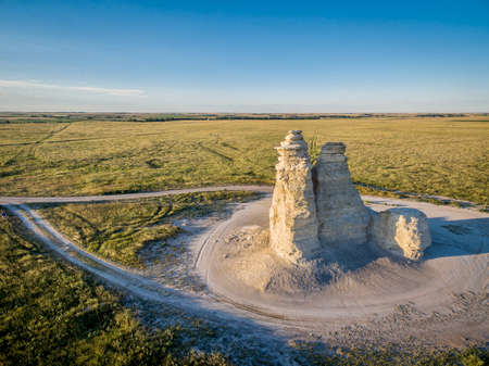 Castle Rock - limestone pillar landmark in prairie of western Kansas near Quinter (Gove County) - aerial view