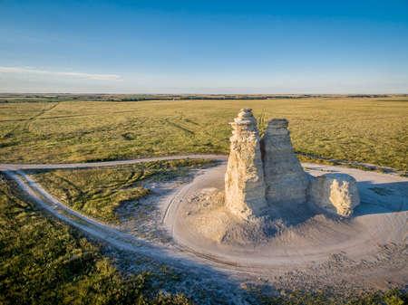 kansas: Castle Rock - limestone pillar landmark in prairie of western Kansas near Quinter (Gove County) - aerial view