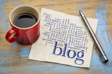 website words: cloud of words or tags related to blogging and blog design - handwriting on a napkin with cup of coffee
