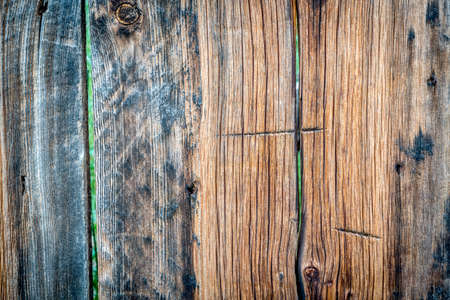 weathered wood texture of a rustic cabin wall with green vegetation in background