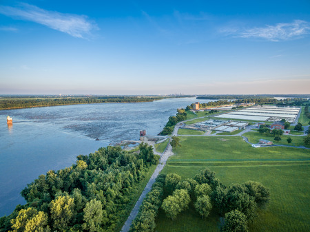 aerial view of the MIssissippi River at Chain of Rocks above St Louis with a dam and water treatment plant