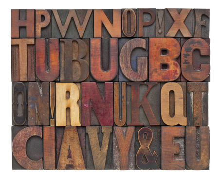 random alphabet letters - vintage letterpress wood type, different size and style of fonts