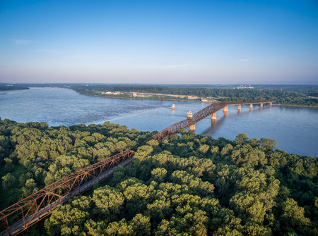 illinois river: The old Chain of Rocks Bridge over Mississippi River near St Louis - aerial view from Illinois shore