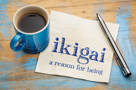 ikigai - Japanese concept  - a reason for being or a reason to wake up - handwriting on a napkin with a cup of espresso coffee