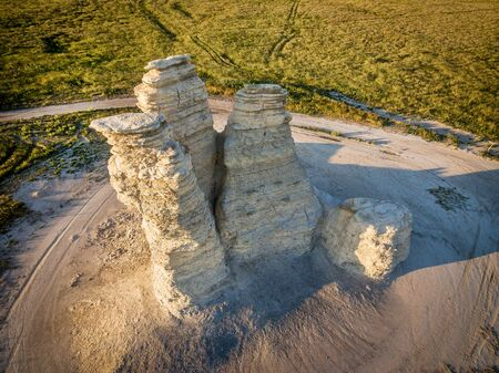 castle rock: Castle Rock - limestone pillar landmark in prairie of western Kansas near Quinter (Gove County) - aerial view