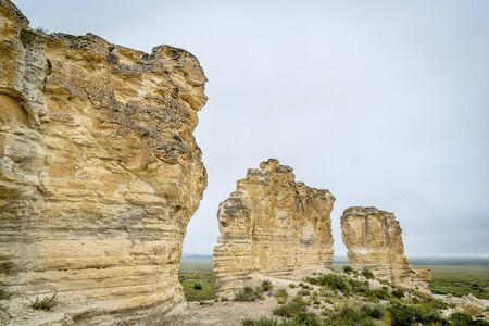castle rock: limestone pillar formation near Castle Rock in a prairie of western Kansas near Quinter (Gove County)