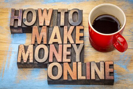 how to: how to make money online - text in vintage wood letterpress type blocks with a cup of coffee