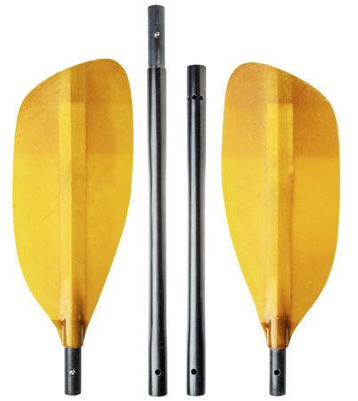 4-piece breakdown (take-apart) whitewater kayak paddle with an oval shaft, isolated on white