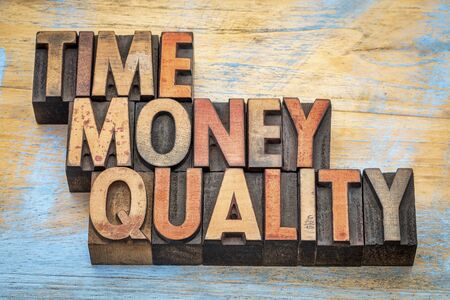printing block block: time, money, quality - word abstract in letterpress wood type Stock Photo