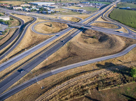 frontage: aerial view of intersection of I-25 freeway and highway 14 in Fort Collins, Colorado